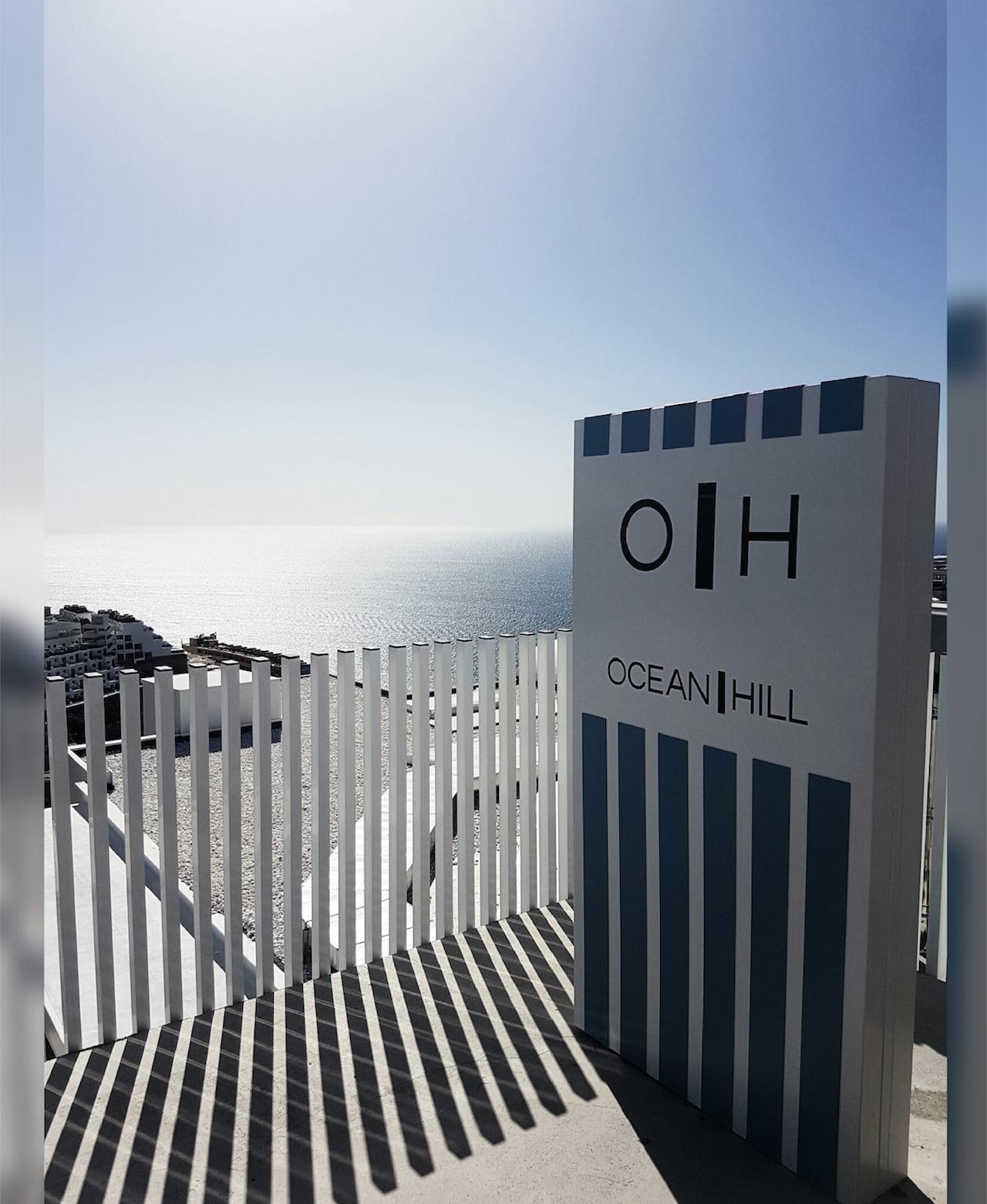 Monolito informativo, Hotel Ocean Hill, Maspalomas, Gran Canaria.