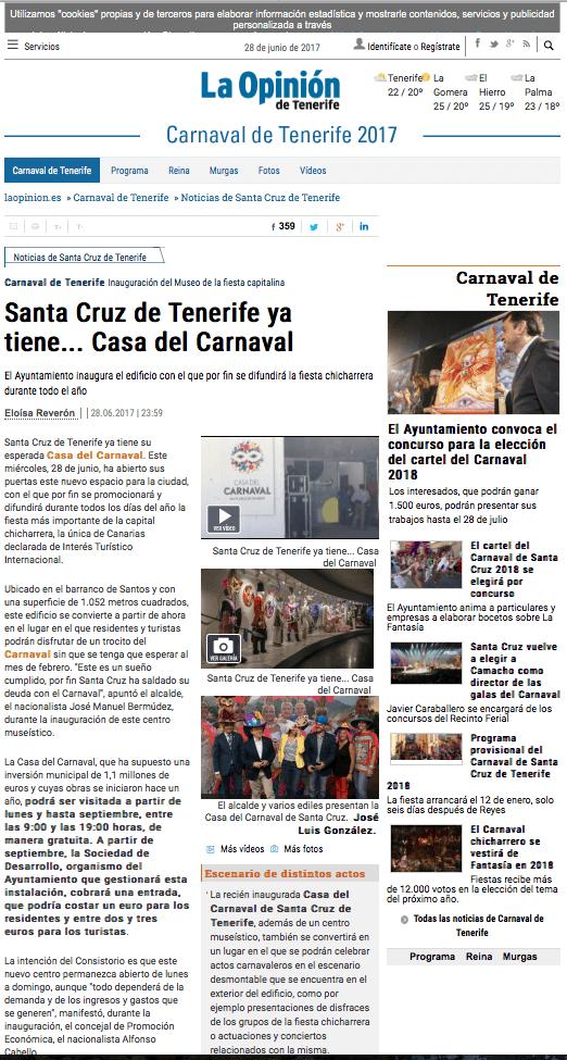 La Opinión de Tenerie, Casa del Carnaval, Publexcan