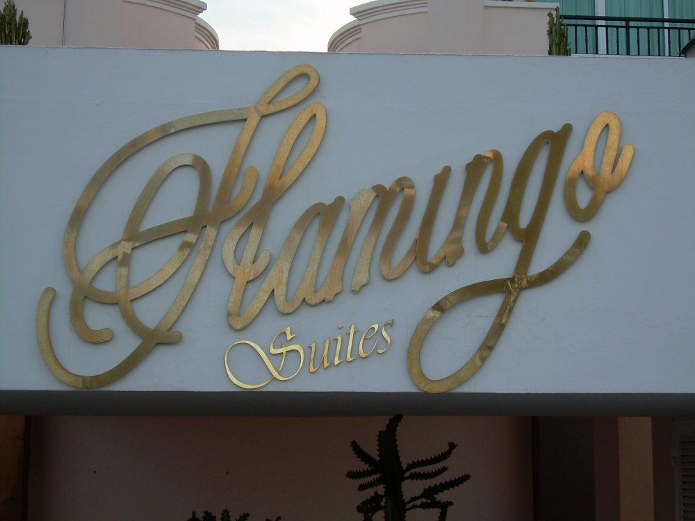 Letras copóreas en latón, Flamingo Gran Canaria