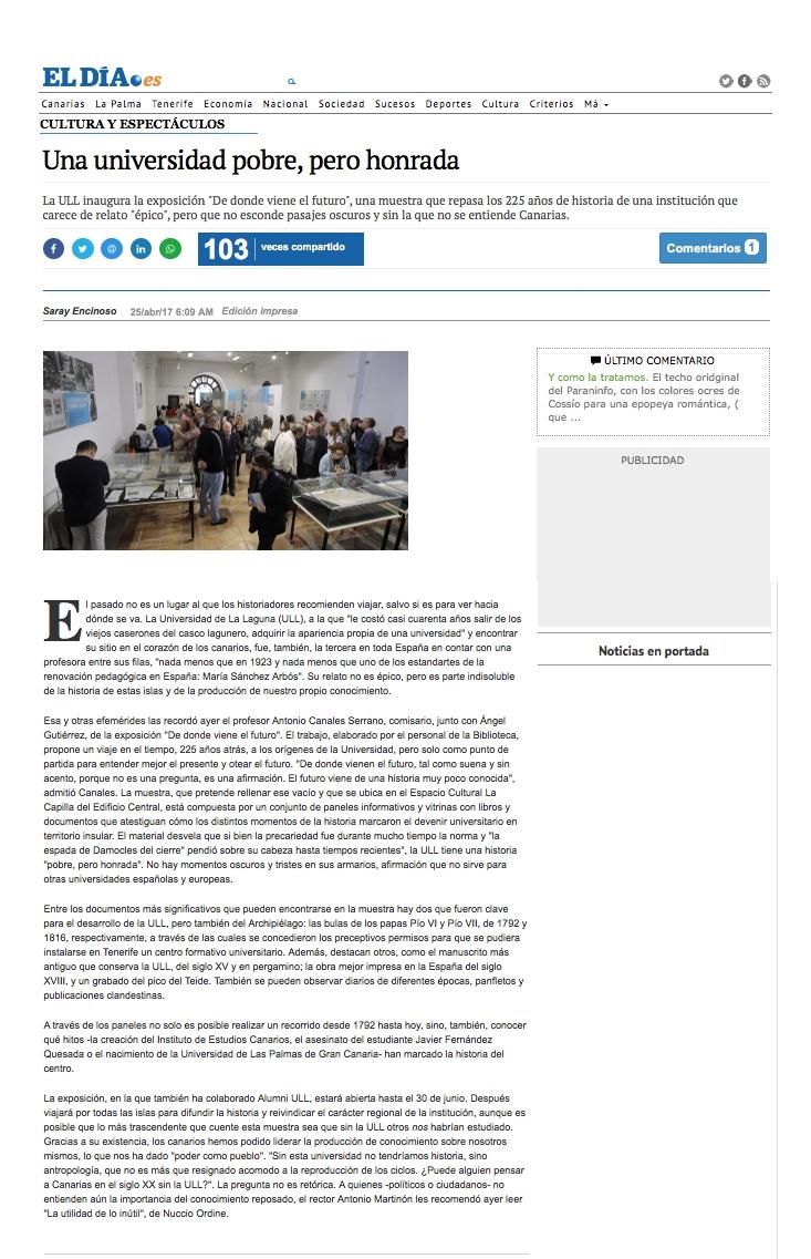 El Dia Museografia 225 años Universidad de La Laguna